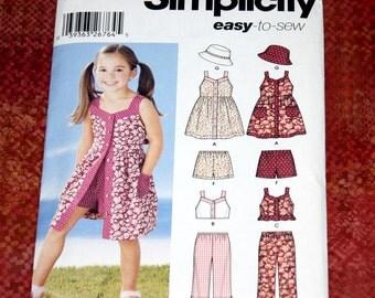 UNCUT Simplicity 2377 Pattern - Adorable Girls Dress, Top, Pants, Shorts & Hat