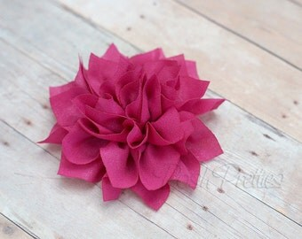 Fuschia Flower Hair Clip - Lotus Blossom - With or Without Rhinestone Center