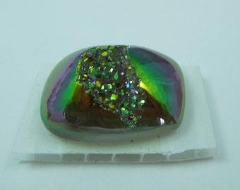 10mmx10mm Titanium Green/Gold/Purple Iris Druzy Quartz Cab #4