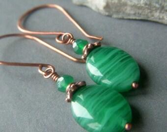 Emerald Green Earrings, Copper Earwires, Czech Oval Glass Dangle Banded Swirl like Malachite, Green Glass Swirl Earrings