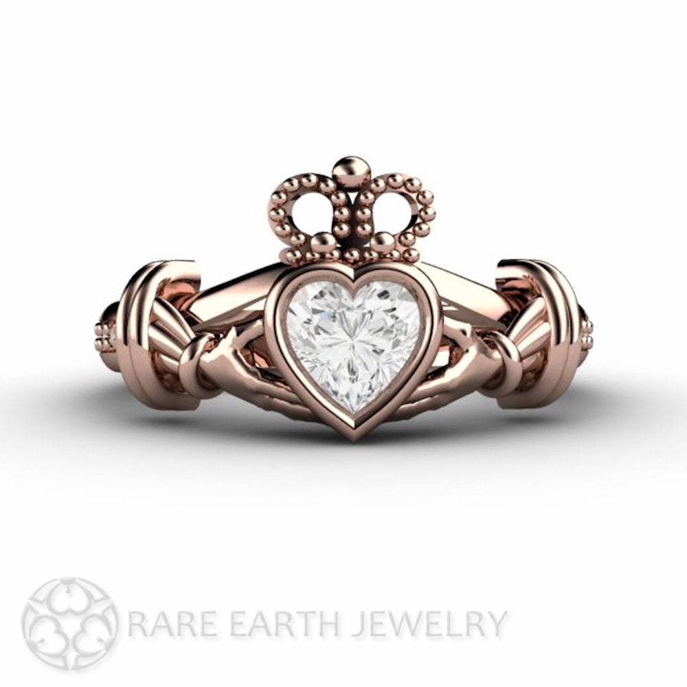 Diamond Claddagh Ring Irish Engagement Ring Promise By RareEarth