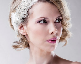 Bridal Bandeau - Vintage Inspired 1920's Ivory Headband - Summer Vintage Weddings - Soft Tulle - Headpiece Swarovski Crystals - Designer