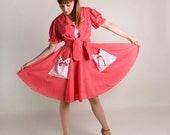 Vintage Rockabilly Dress and Blouse - Strawberry Red and White Polka Dot Country Girl Patio Outfit - Large