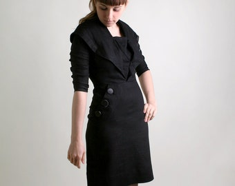 Vintage 1950s Wiggle Dress - Black Noir Button Fitted Dress - Medium