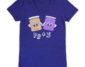 SALE PB & J - Womens Girls T-shirt Peanut Butter and Jelly Cute Love Sandwich Retro Adorable Navy Blue Tshirt Best Friends Indigo Tee Shirt