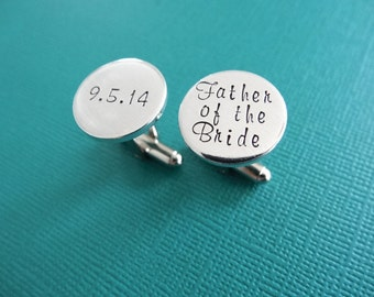 Father of the Bride Cufflinks - Personalized Cufflinks - Wedding Jewelry