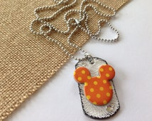 SALE Mouse Ears Designer Dogtag, minnie mouse jewelry, mickey mouse jewelry, disney inspired jewelry, mouse jewelry