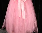 Paris Pink wedding tutu skirt Adult Ribbon tie Floor length extra puffy petticoat bridal bride dance -You Choose Size -- Sisters of the Moon