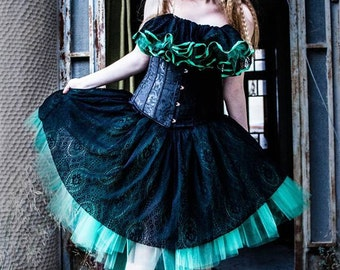 Gothic adult tutu tulle skirt knee length victorian lace black green formal prom dance bridal -- You Choose Size -- Sisters of the Moon