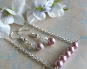 Blush Bridesmaid Necklace, Pearl Bar Necklace and Earring Set, Rose Pink