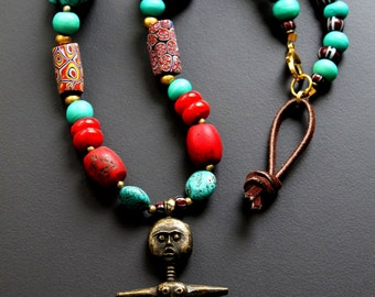 African Necklace, Akuaba Doll, Tribal Necklace, Akau'maa African Brass Fertility Doll Pendant Necklace