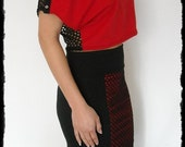 Fishnet Crop top red black off shoulder gothic clothing alternative apparel - Naughty & Nice