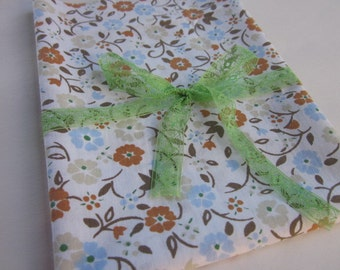 Vintage Sheet Fat Quarter Blue and Brown Flowers