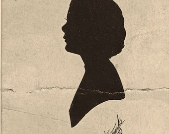 Signed Silhouette 1938 of Woman