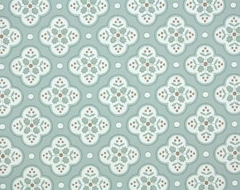 1940's Vintage Wallpaper - Green and Brown Geometric with Little Leaves