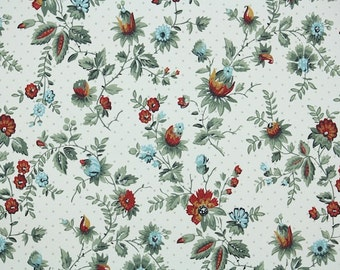 1940s Vintage Wallpaper by the Yard - Red and Blue Mini Floral with Dark Green Leaves on White