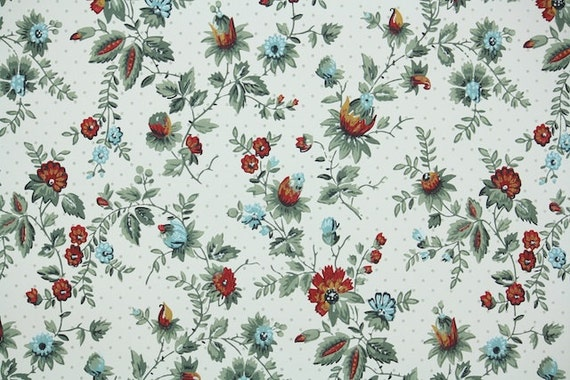 1940's Vintage Wallpaper - Red and Blue Mini Floral with Dark Green Leaves on White