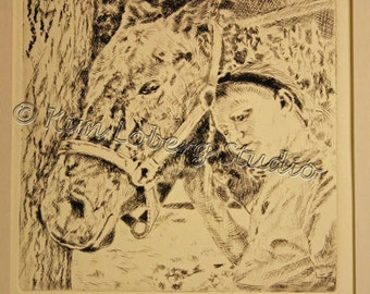 Girl Pony Best Friends day dreaming Horse equine Fine Art Hand Pulled Print Kim Loberg Nebraska Artist WHOA Team