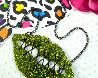 My Lips Are Sealed - Zombie Green Glitter Stitched Lips Neckalce in Laser Cut Acrylic
