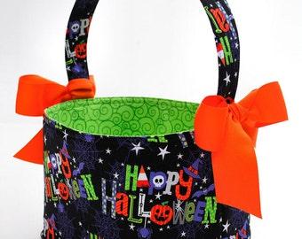 Boutique Halloween Trick or Treat Basket bag bucket Happy Halloween