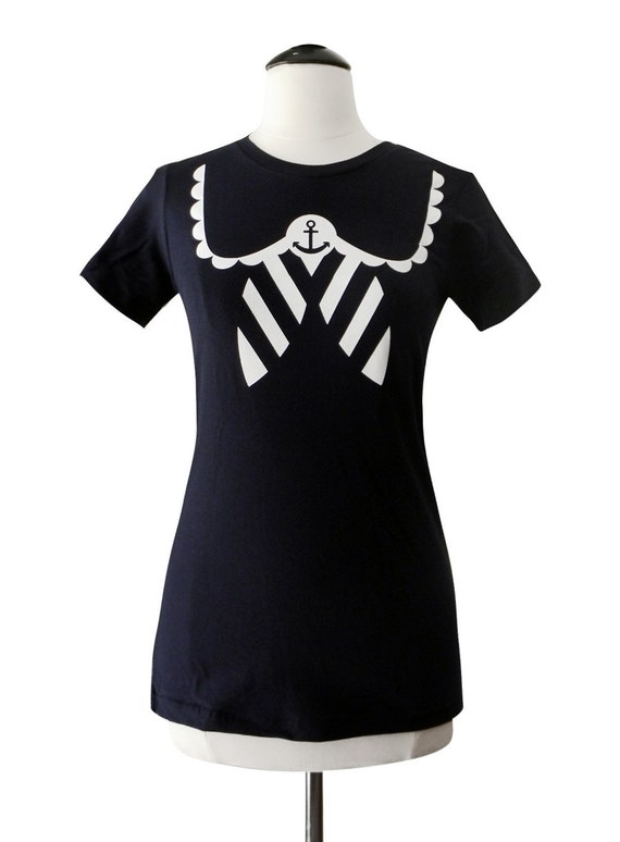 womens sailor t shirt nautical anchor navy t shirt by