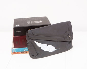 Vintage Faux Leather Clutch with Hand Painted Feather