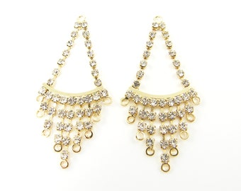 Rhinestone Fringe Chandelier Earring Findings Gold Clear Pair Dressy Bridal Wedding Bridesmaid Jewelry Drop Pendant Finding Charms |G14-9|2