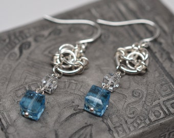 Sterling silver, argentium silver & Swarovski crystal chainmaille celtic dangle earrings