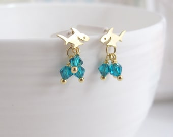 Deep Blue Sea Shark Ear Post. Petite Dainty Shark Earrings. Turquoise Blue Swarovski Crystal Drops. Beach Summer 925Silver Ear Post Jewelry