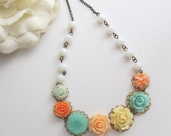 Floral Statement Nature Woodlands Garden Inspired Flowers Necklace. Mint Peach Seafoam Cream Flowers Opaque White Faceted Glass Beads