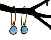 Gold London Blue Topaz Gemstone Bezel Earrings with Simple Vermeil Marquis Wire Hooks