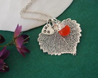 Mom Leaf Necklace Personalized, Real Leaf, Orange Gemstone, Birthstone, Sterling Silver, Cottonwood Leaf, Monogram Charm, Custom Charm
