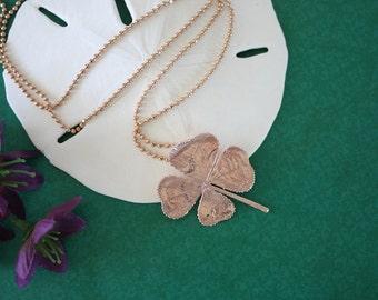 4 Leaf Clover Real Rose Gold, Real Clover, Shamrock, Pink Gold, Medium, Four Leaf Clover, RC2