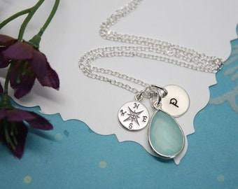 Compass Personalized Necklace for Graduation, Compass necklace, Seafoam Green, Initial Charm, Moogrammed Charm, Mothers Day Gift, Friendship