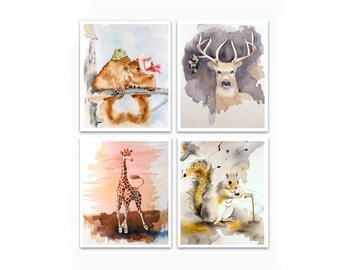 Wall Art Decor Art Prints Child's Room Sale 23% off set of 4 prints Animal art Nursery wall art decor your choice Watercolor painting