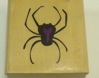 Spider  Halloween Wood Mounted Rubber Stamp By Sugarloaf