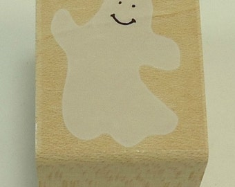 Happy Ghost Wood Mounted Rubber Stamp