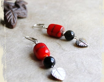 Earrings Bella Bella – branch coral, black onyx, natural mother of pearl, silver, Swarovski crystals