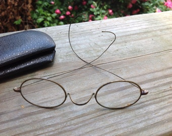 Pair of Vintage Gold Eyeglasses/Spectacles with Loop Earpieces