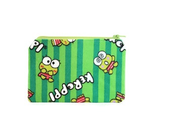 CLEARANCE Keroppi Bag / Mini Zipper Pouch / Small Camera Bag in Keroppi on Green Stripes