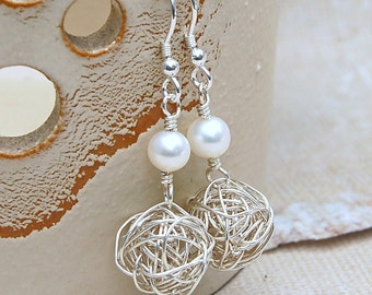 Sterling Silver Bird's Nest and Pearl Earrings
