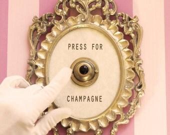 Press For Champagne Framed Vintage Button ( silent version )