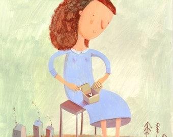 box with love  Original illustration