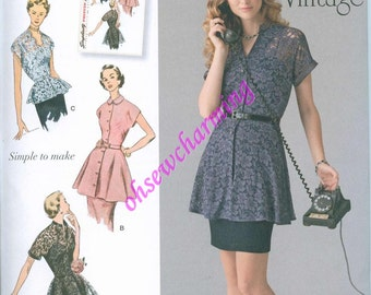 1950s Simplicity 1460 Sewing Pattern Vintage Style Sizes 6-8-10-12-14 Peplum Tunic Blouse Top