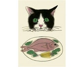 Tuxedo cat art drawing - The Dinner Guest - 4 X 6 print - 4 for 3 SALE