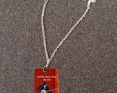 Retablo Folk Art Necklace - Proceeds Benefit Animal Rescue, Americana Banjo Art, OOAK, Red Black & Metal Dog Tag, Silver Rolo Chain