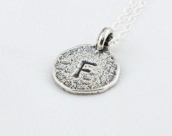 Initial F Handstamped Sterling Silver Pendant and Necklace - with Gift Box