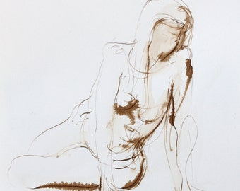 Twisting Figure Seated- Original Ink Wash Figure Drawing