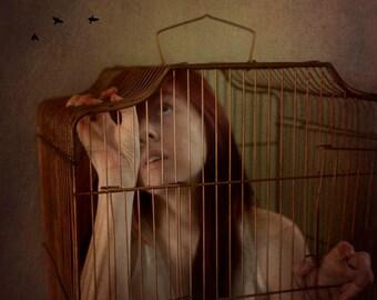 female captive bird cage surreal birds home decor portrait