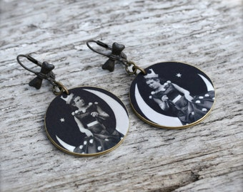 Silly Girl Moon Earrings - Vintage Photograph Jewelry - Black and White Image Jewelry - Light Weight Earrings - Shrink Plastic - Photograph
